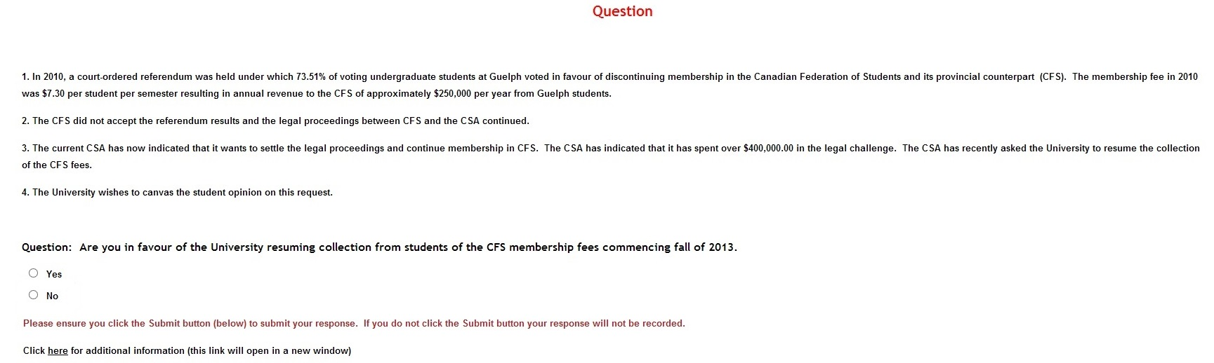 University of Guelph - Survey Question re CFS Fee collection - April 5, 2013