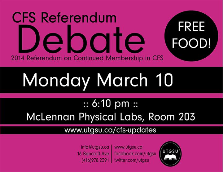 UTGSU - CFS referendum debate poster